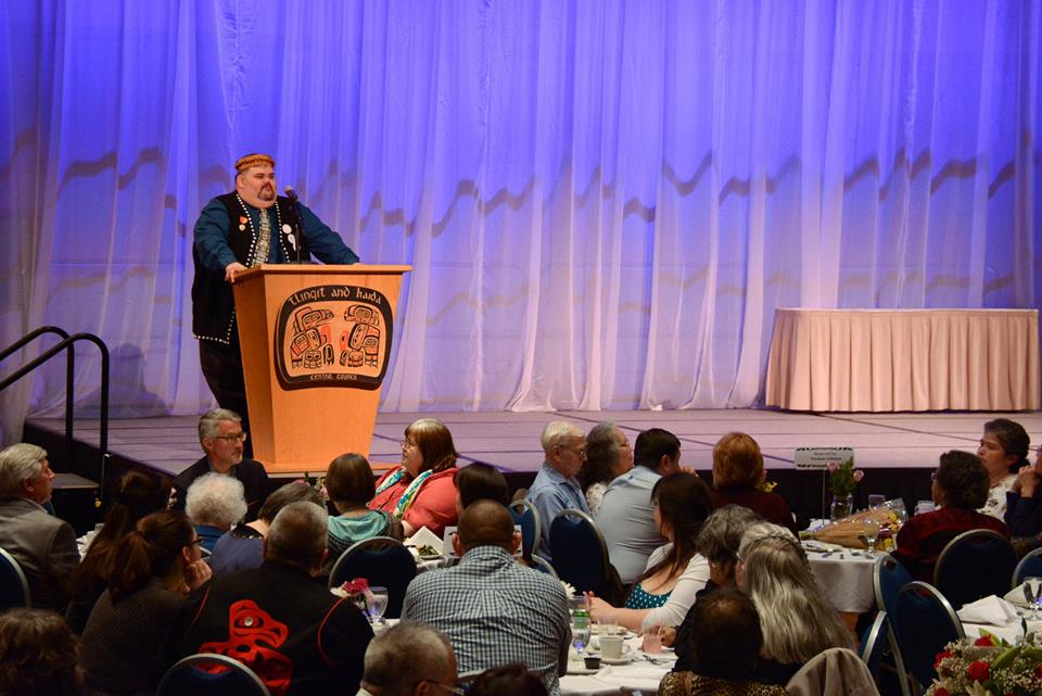 Richard Peterson, Tlingit-Haida Central Council president, addresses the closing banquet during April's 81st tribal assembly in Juneau. (Photo courtesy Tlingit-Haida Central Council)