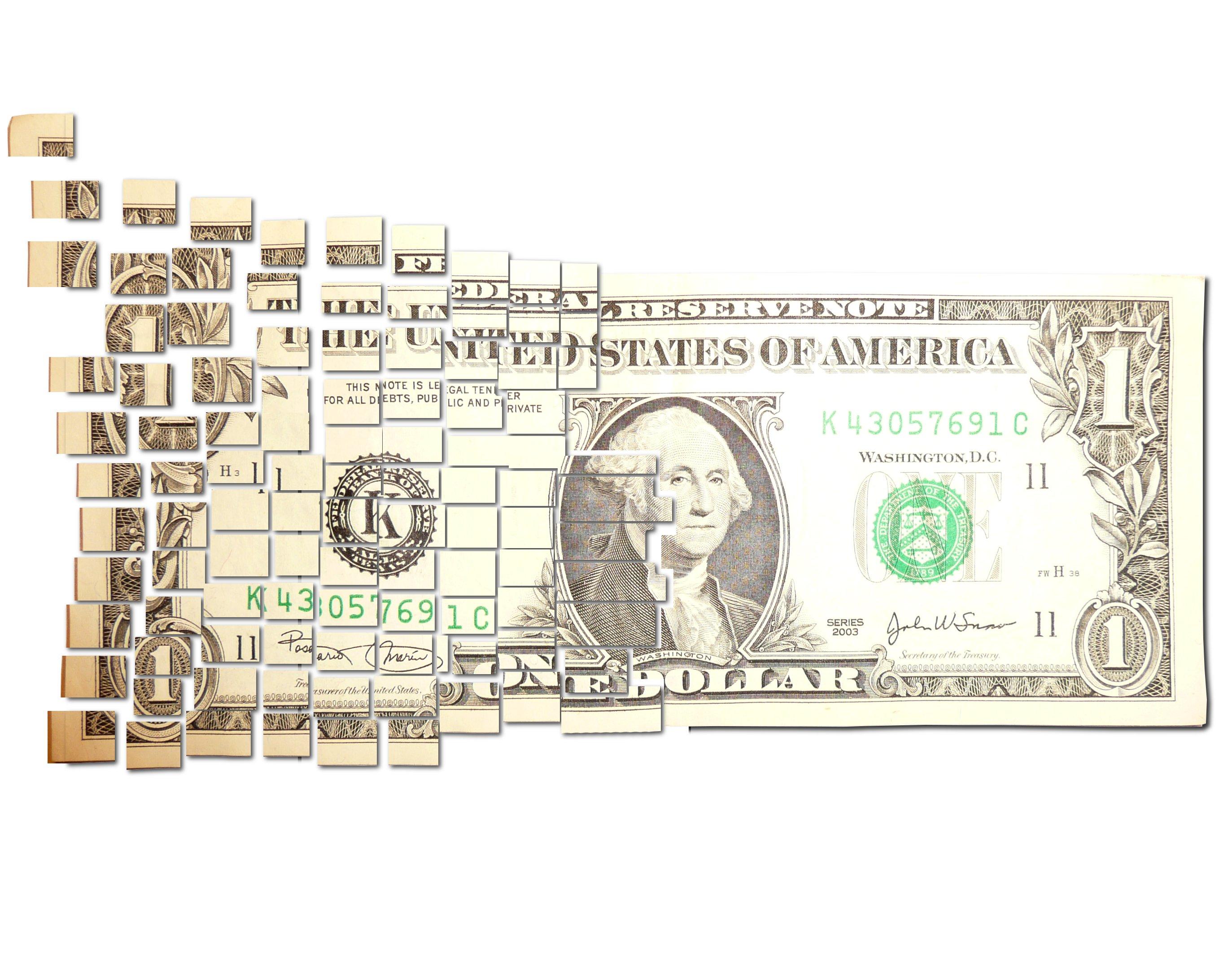 broken dollar cash pieces