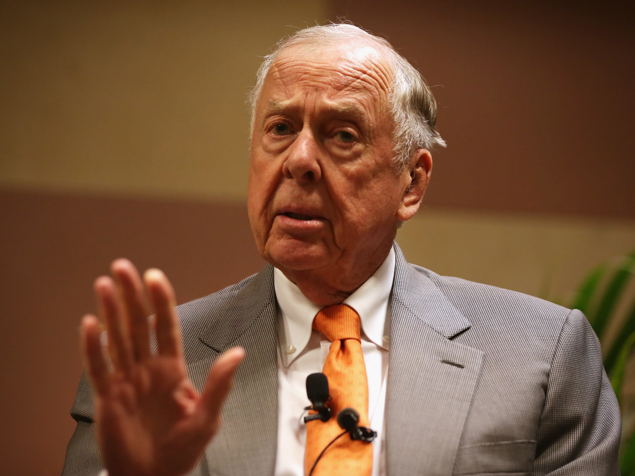"""T. Boone Pickens, founder and chairman of BP Capital Management, participates in a discussion during a """"birthday bash"""" last year in Oklahoma City. Alex Wong/Getty Images"""