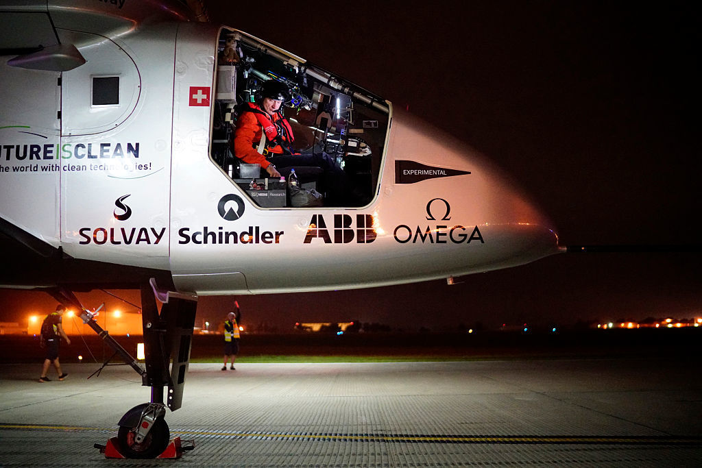 Solar Impulse 2, the solar airplane of Swiss pioneers Bertrand Piccard and Ande Borschberg, in preparation for the take off from Tulsa International Airport, Oklahoma on Saturday.