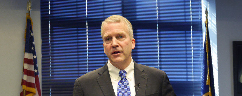 U.S. Senator Dan Sullivan, R-Alaska, at a press availability following his annual address to the Legislature.  (Photo by Skip Gray/360 North)