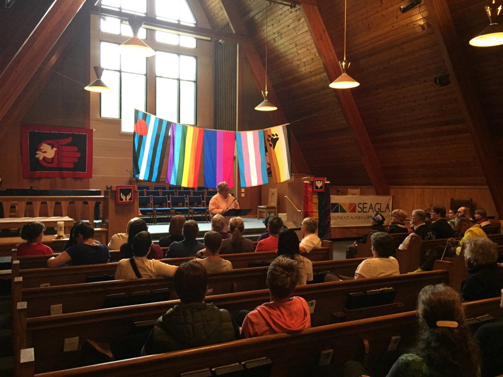 Artist Ricky Tagaban organized a Two Spirit Pride Reception to begin Juneau's pride week, held on June 11. Speakers included Freda Westman, former Alaska Native Sisterhood Grand Camp President. The next day was the Orlando shooting. (Photo by Emily Kwong/KCAW)