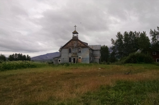 The mission at Pilgrim Hot Springs. (Photo by Madison Winchester/KNOM)