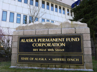 The Alaska Permanent Fund Corp.'s exterior sign, March 14, 2016. (Photo by Skip Gray/360 North)