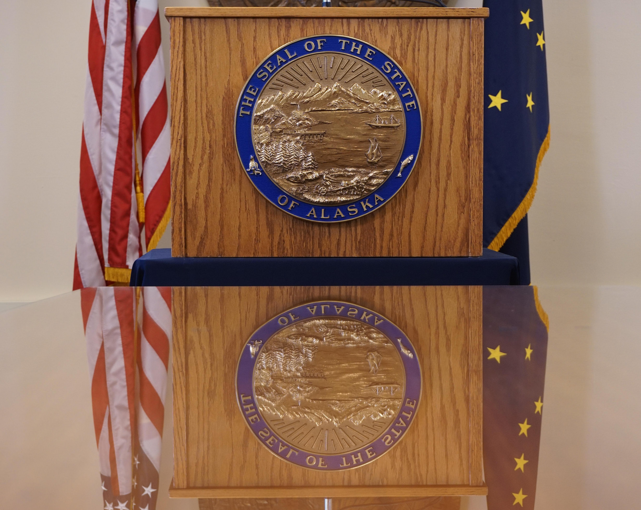 The governor's podium and seal of the state of Alaska in the governor's temporary offices in Juneau, June 19, 2016. (Photo by Jeremy Hsieh/KTOO)