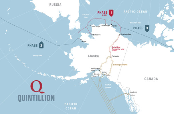 The three phases of Quntillion's fiber optic efforts in Alaska. (Image courtesy of Quintillion)