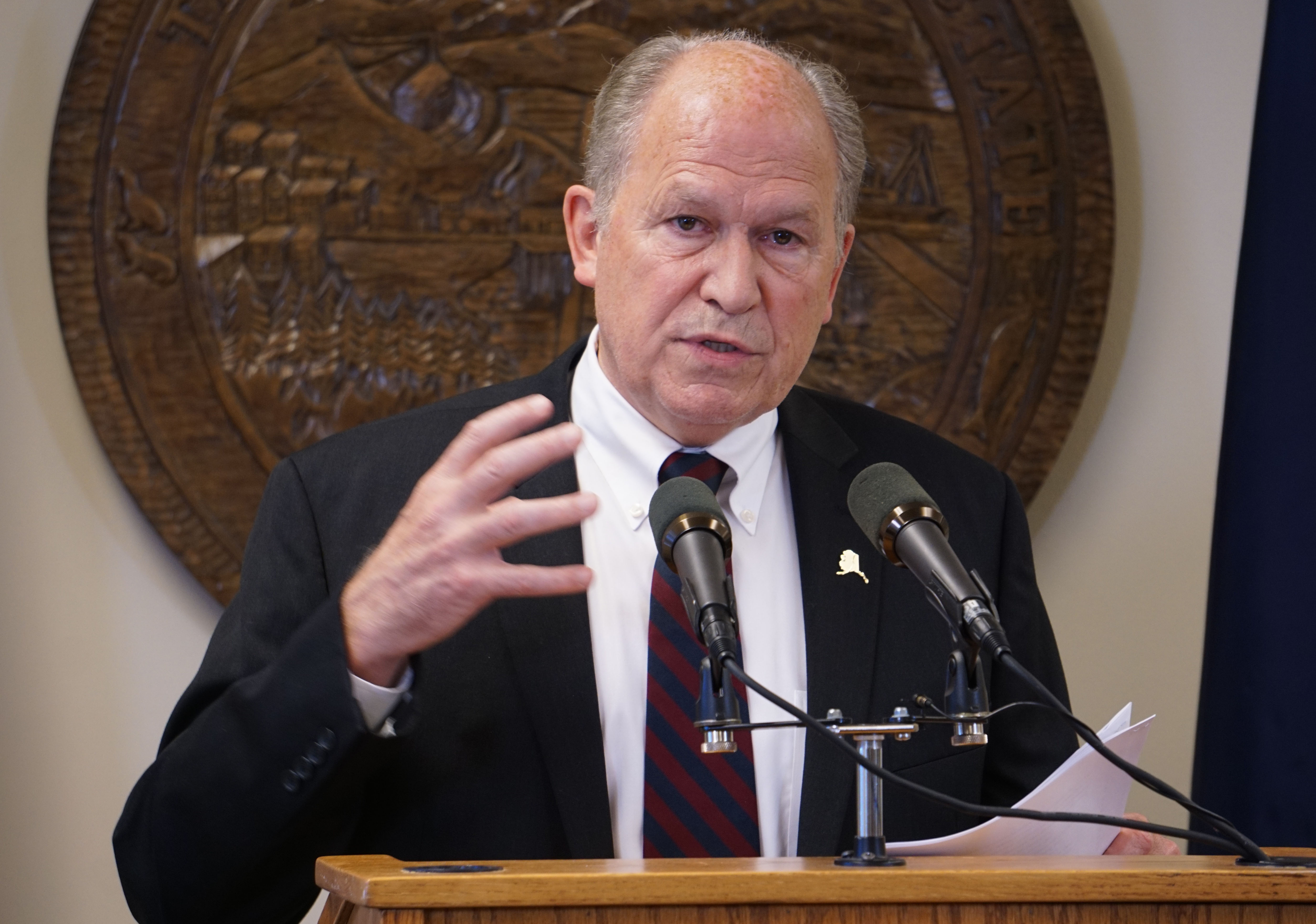 Gov. Bill Walker talks to reporters at his temporary offices in Juneau, June 15, 2016. (Photo by Jeremy Hsieh/KTOO)