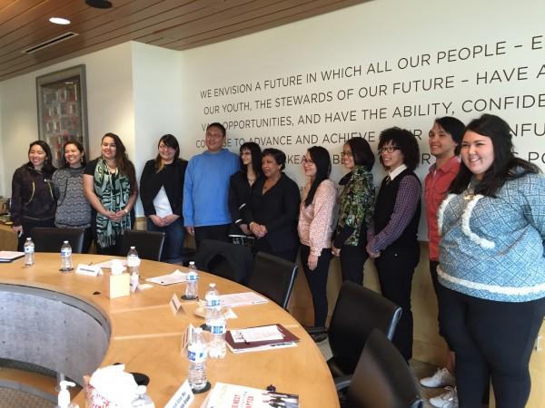 US Attorney General Loretta Lynch poses with a group of Alaska Native Youth. (Hillman/Alaska Public Media)
