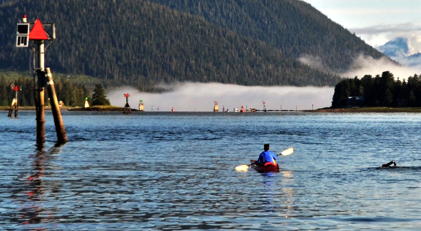 Pinball Alley in the Wrangell Narrows is a series of navigation markers. (Photo by Mark Adams)