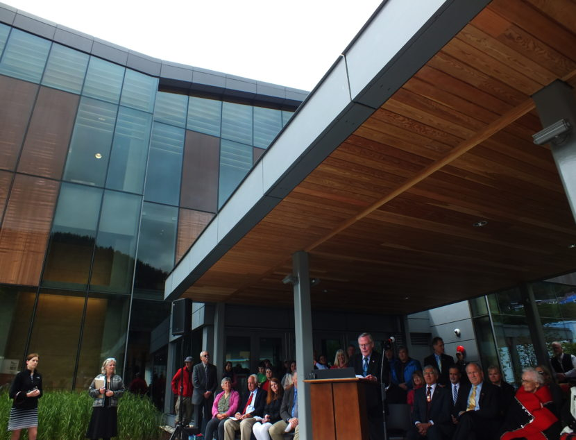 Juneau Sen. Dennis Egan addresses a crowd during grand opening of the Father Andrew P. Kashevaroff Library, Archives and Museum on June 6, 2016.
