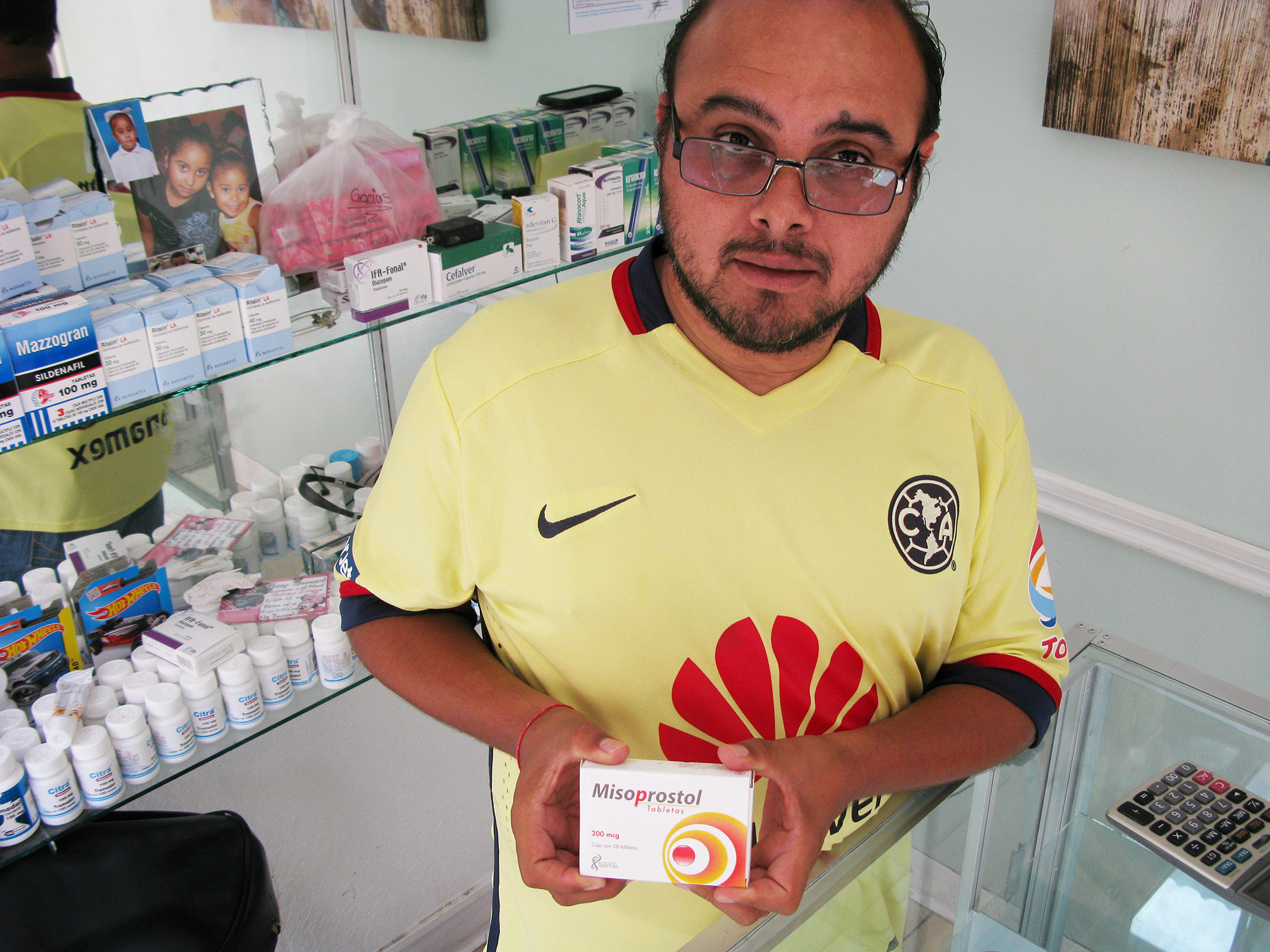 Luis Alberto de la Rosa says he sells lots of misoprostol, a drug used in abortions and in ulcer treatment, to women from Texas who come to his Miramar Pharmacy in Nuevo Progreso, Mexico. John Burnett/NPRLuis Alberto de la Rosa says he sells lots of misoprostol, a drug used in abortions and in ulcer treatment, to women from Texas who come to his Miramar Pharmacy in Nuevo Progreso, Mexico. John Burnett/NPR