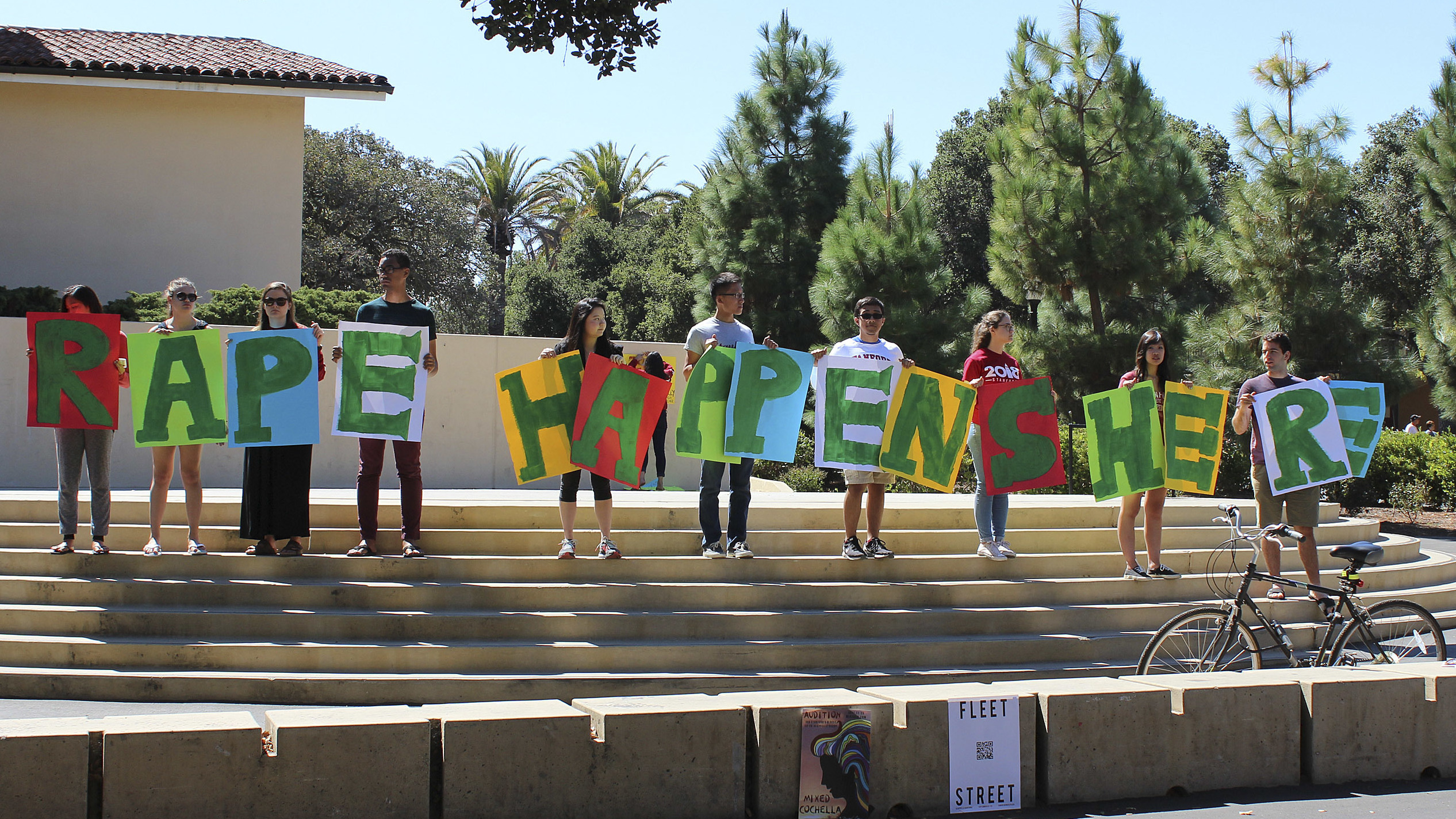 Stanford has found itself in a string of high-profile sexual assault cases. During a demonstration last September, students held a sign about rape at the university's White Plaza, during New Student Orientation. Tessa Ormenyi/AP