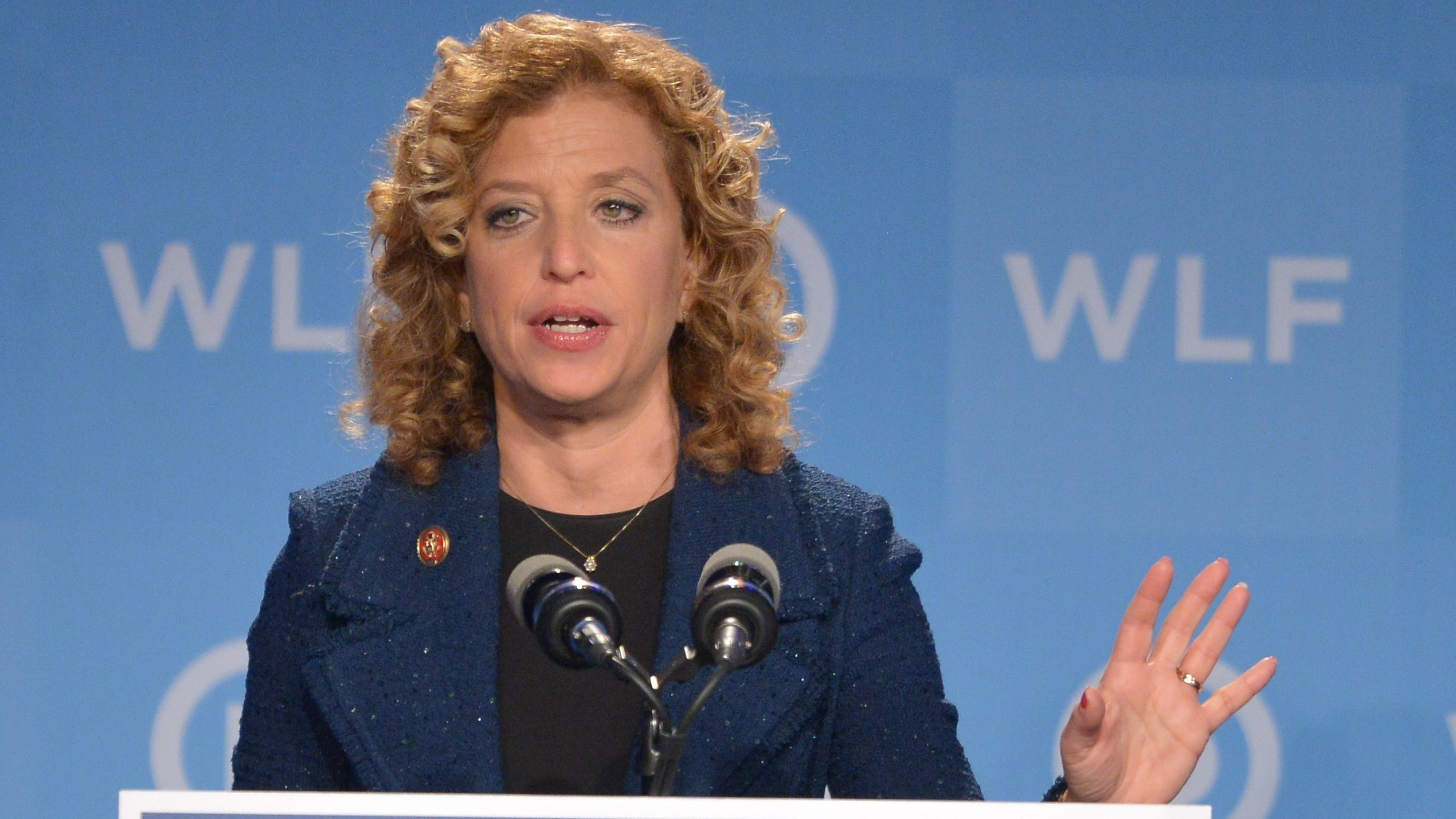 Democratic National Committee Chairwoman Debbie Wasserman Schultz said the DNC is working to secure its network as quickly as possible. She's shown here in 2014. Mandel Ngan/AFP/Getty Images