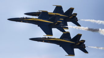 A Navy pilot who flew with the Blue Angels — some of the group's planes are seen here last September — was killed in a crash southwest of Nashville Thursday afternoon. Portland Press Herald/Press Herald via Getty Images