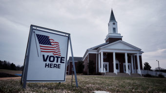 Residents vote in the South Carolina Republican presidential primary election at the Cross Roads Baptist Church in Greer, S.C., on Feb. 20. T.J. Kirkpatrick/Bloomberg via Getty Images