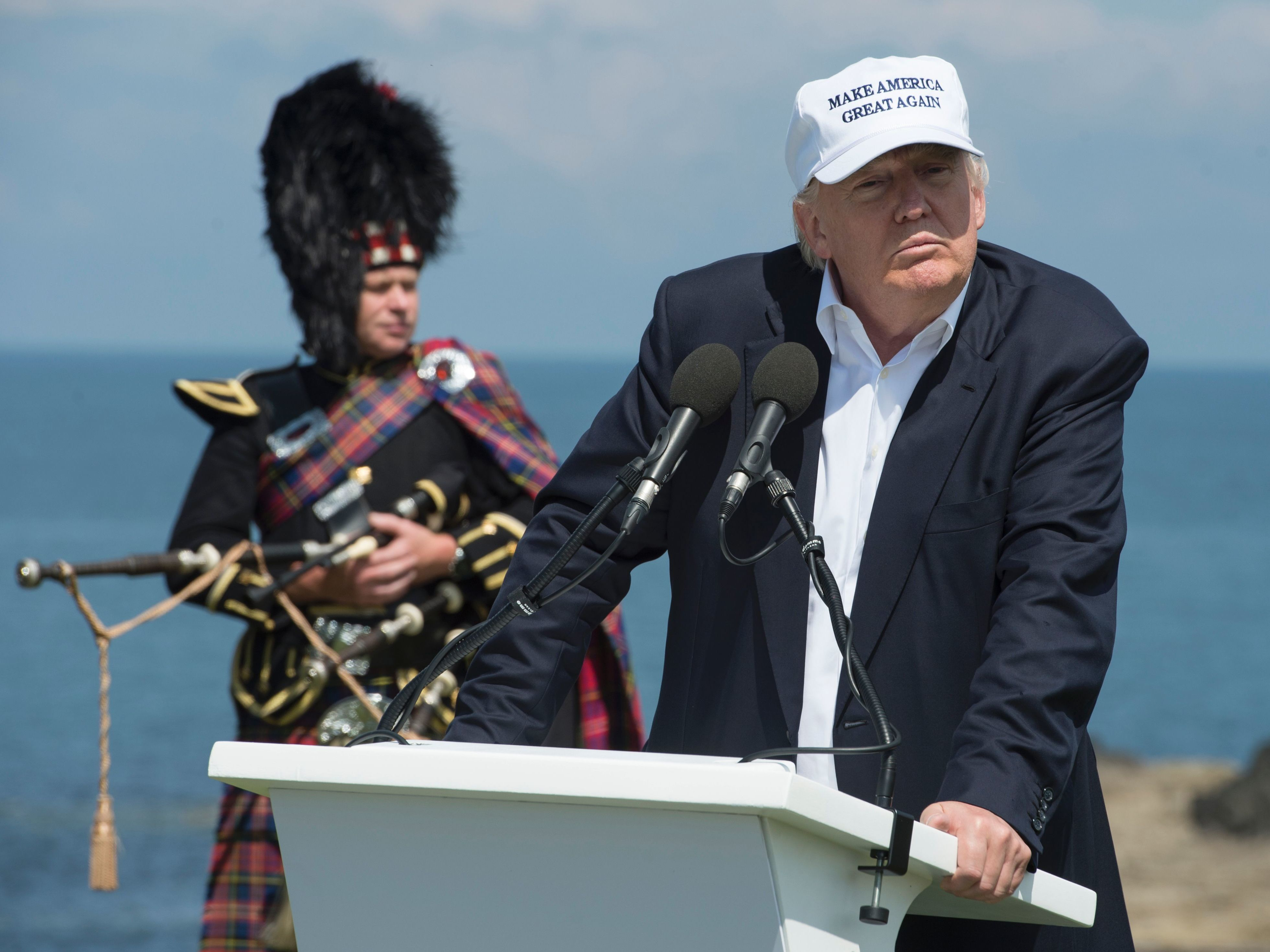 "Donald Trump delivers a speech as he officially opens his Trump Turnberry hotel and golf resort in Scotland on Friday. Donald Trump hailed Britain's vote to leave the EU as ""fantastic"" shortly after arriving in Scotland. Oli Scarff/AFP/Getty Images"