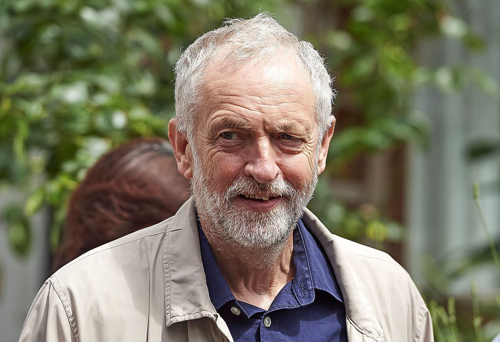 British oppositon Labour Party Leader Jeremy Corbyn leaves his home in London on Sunday. Niklas Halle'n/AFP/Getty Images