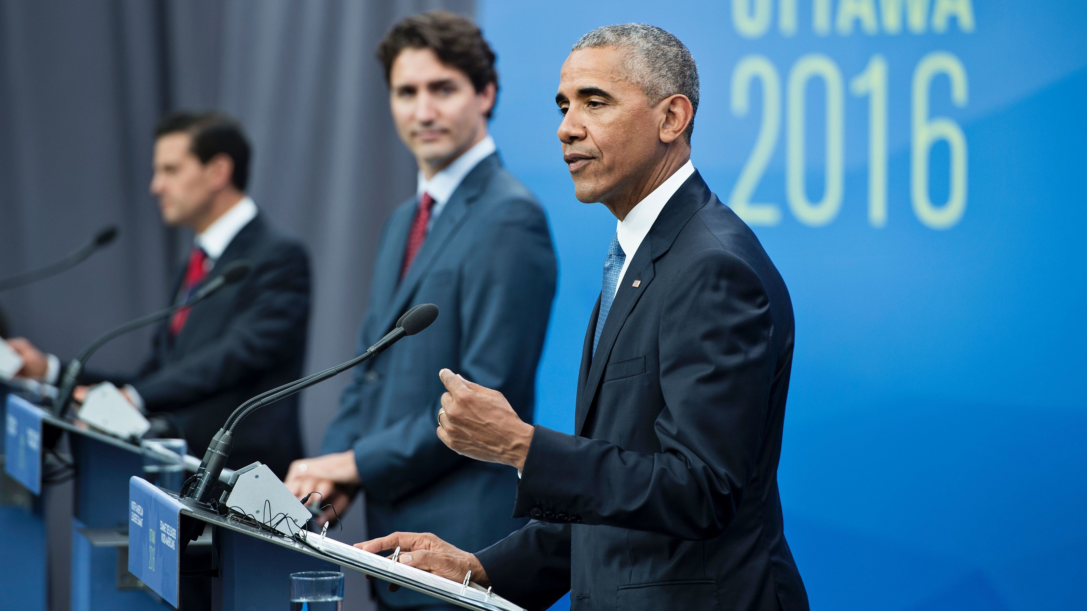 (L-R) Mexican President Enrique Pena Nieto, Canadian Prime Minister Justin Trudeau and President Obama held a press conference in Ottawa Wednesday. Brendan Smialowski/AFP/Getty Images