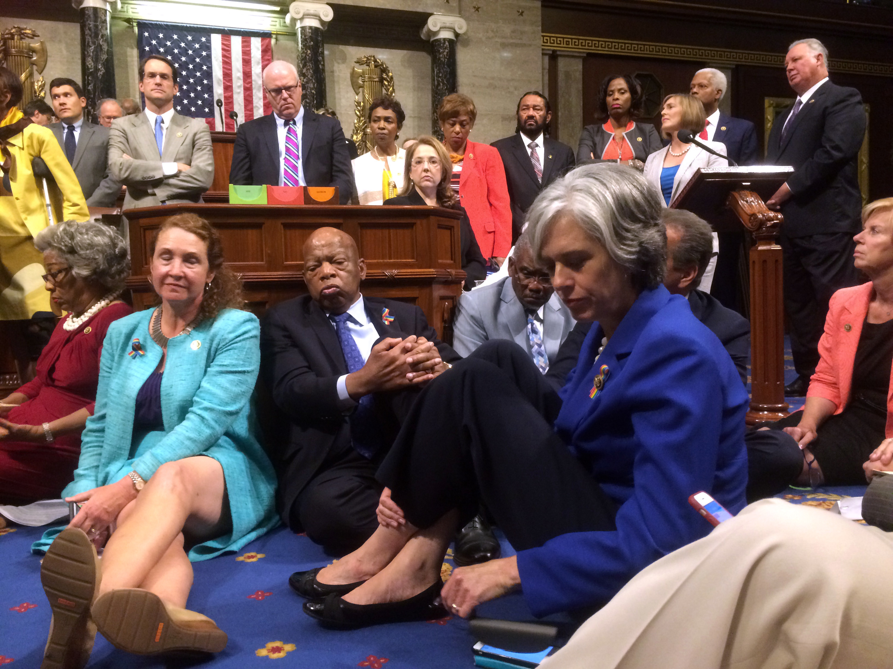 Democratic members of Congress, including Rep. Elizabeth Esty, D-Conn.(seated left), Rep. John Lewis, D-Ga. (center) as they participate in a sit-down protest seeking a vote on gun control measures on Wednesday. Courtesy of Rep. Chellie Pingree