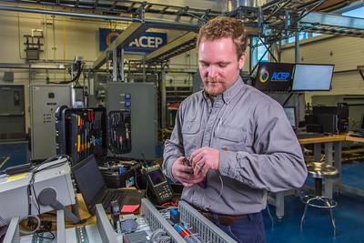Marc Mueller-Stoffels, program director of ACEP's Power Systems Integration Program, in the Power Systems Integration Laboratory. He's also a research assistant professor with UAF's Institute of Northern Engineering. (Photo courtesy of the University of Alaska Fairbanks)