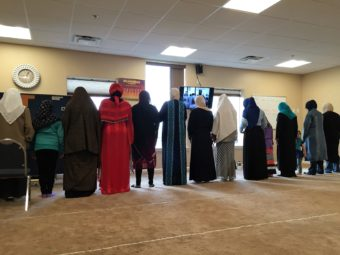 Women pray at the masjid in Anchorage. (Photo by Anne Hillman/KSKA)