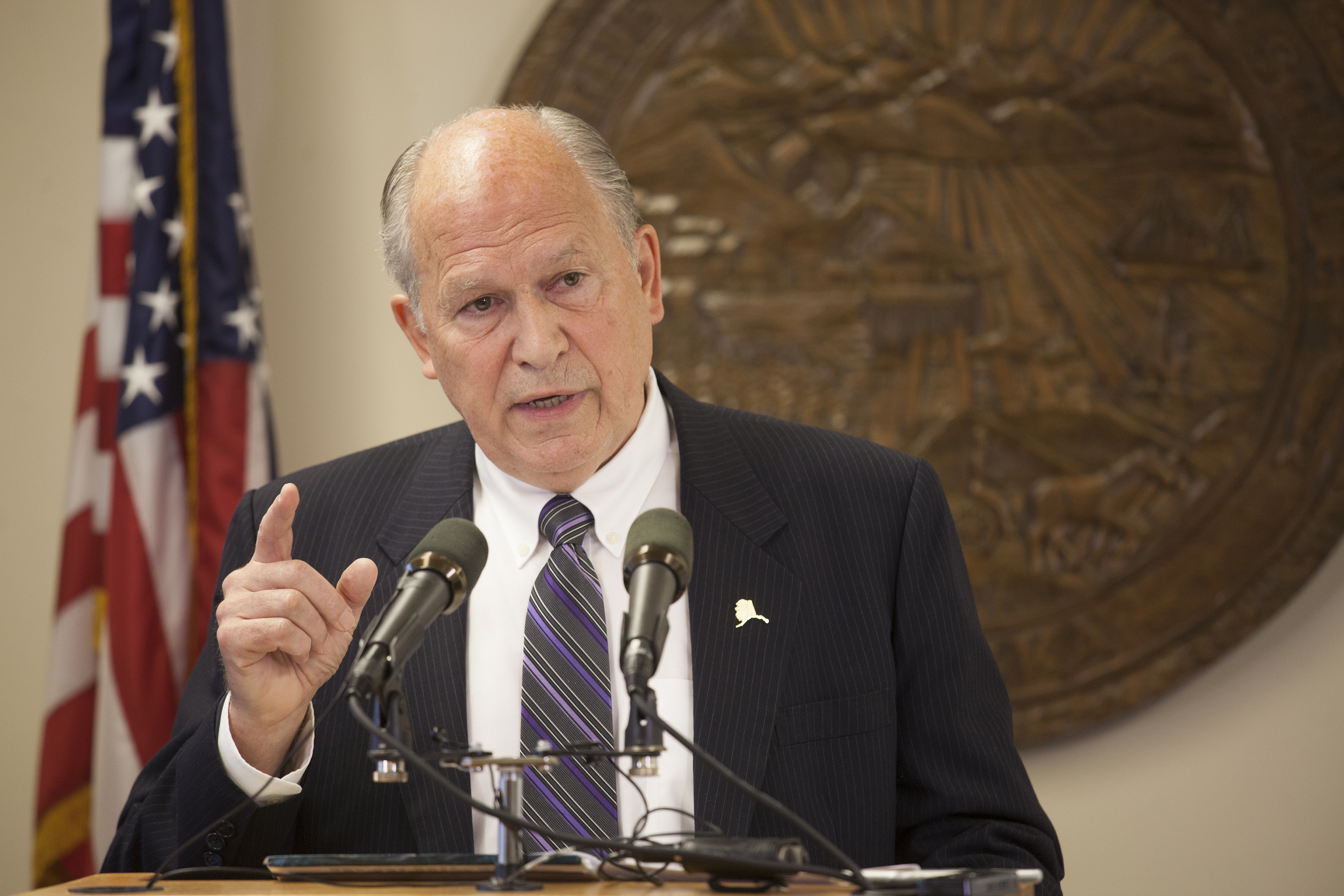 Alaska Gov. Bill Walker talks about the state's budget on Wednesday, June 1, 2016 during a press conference in Juneau, Alaska. (Photo by Rashah McChesney/KTOO)