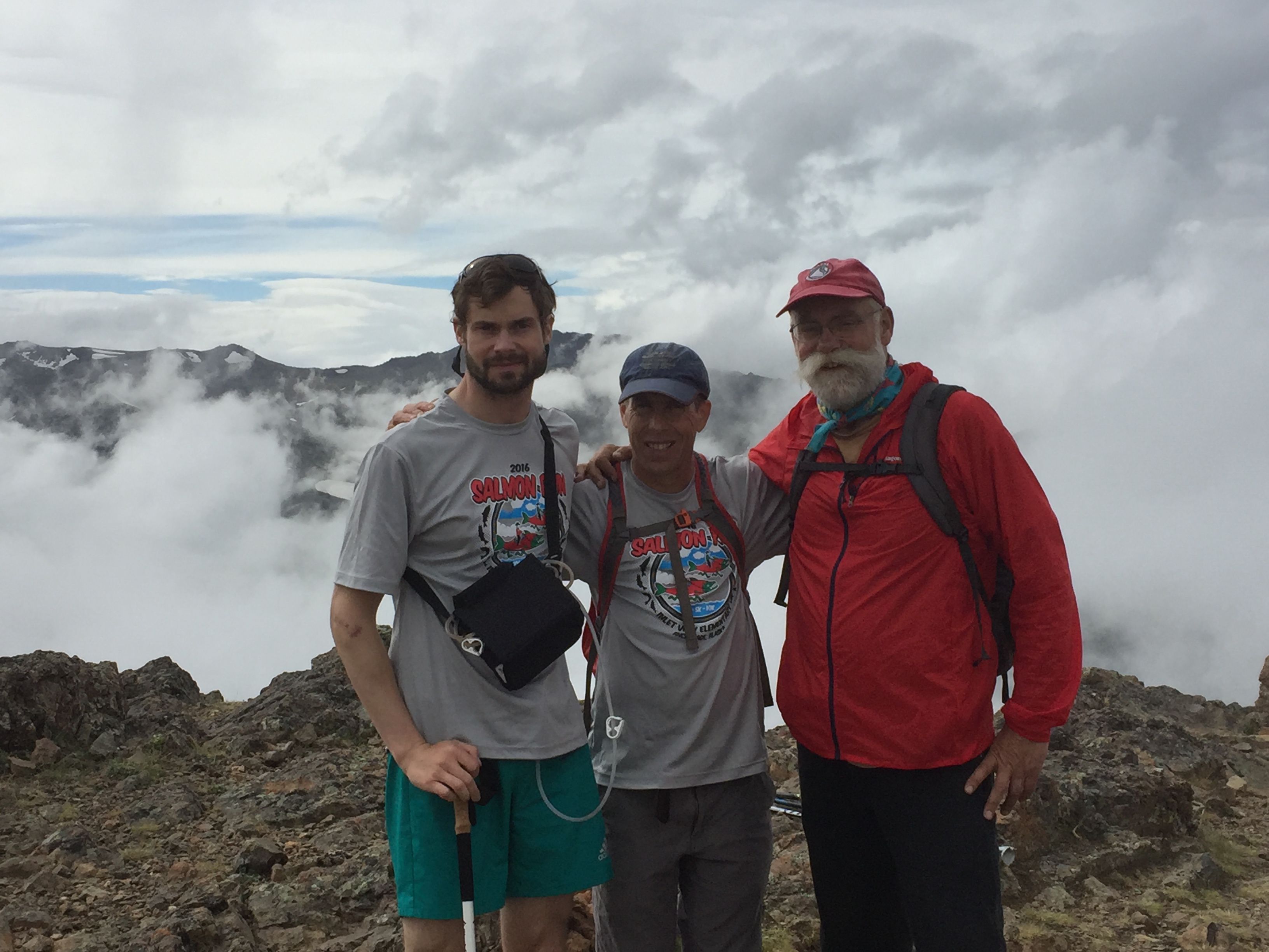 Forest Wagner, Andy Sterns, and Forest's father Joe Wagner pose for a photo while climbing Flat Top near Anchorage, June 25, 2016. (Photo courtesy Forest Wagner)
