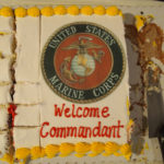 A celebratory cake was set out during the U.S. Marine Corps commandant's visit to an Anchorage VFW post. (Photo by Ben Matheson/ for Alaska Public Media)