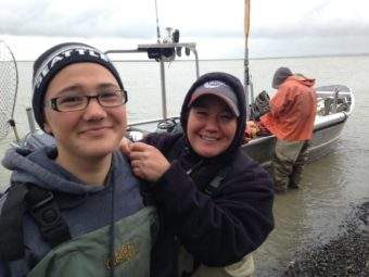Alithia Belleque and her mother Johanna set net at Coffee Point near Dillingham, and caught Bristol Bay's 2,000,000,000th salmon on July 6, 2016. (Photo by KDLG)