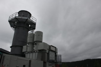 The exhaust stack for diesel turbine. (Photo by Elizabeth Jenkins/KTOO)