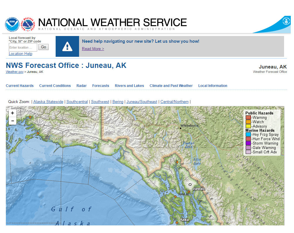 Partial screenshot of new National Weather Service page for the Juneau office.