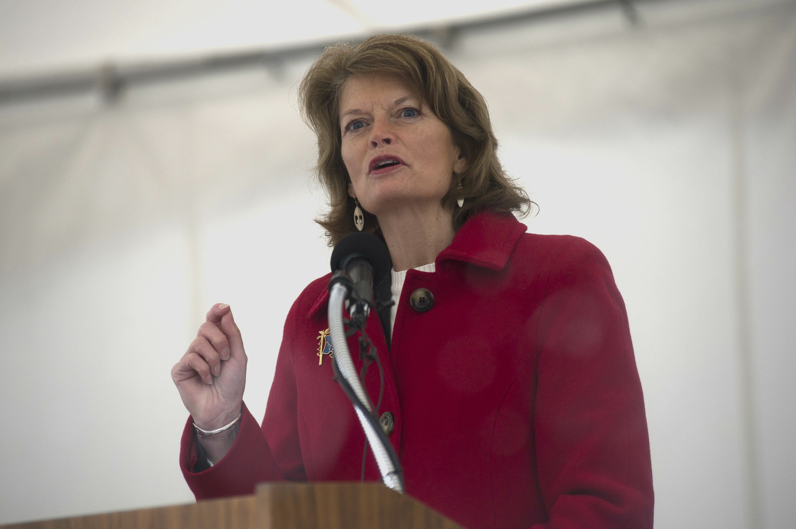 Sen. Lisa Murkowski (R-Alaska) speaks during the commissioning ceremony of San Antonio-class amphibious transport dock ship USS Anchorage (LPD 23) at the Port of Anchorage, May 4, 2013. More than 4,000 people gathered to witness the ship's commissioning in its namesake city of Anchorage, Alaska. Anchorage, the seventh San Antonio-class LPD, is the second ship to be named for the city and the first U.S. Navy ship to be commissioned in Alaska. (Photo by Specialist 1st Class James R. Evans/U.S. Navy)