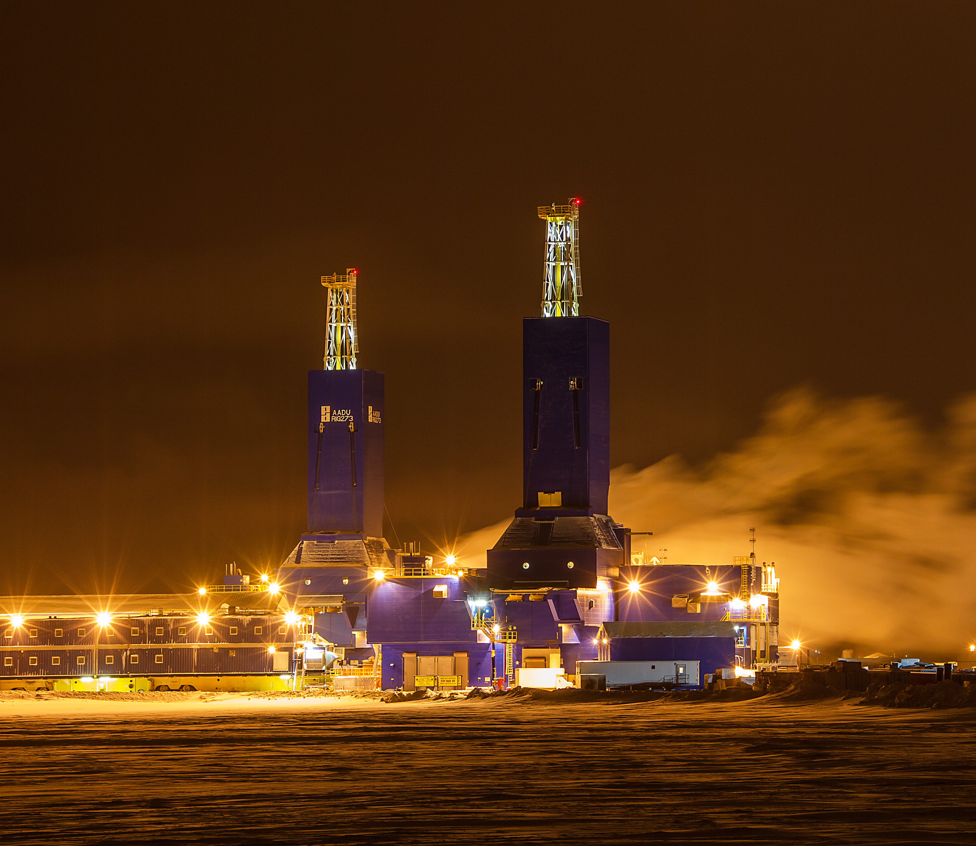 North Slop Drill Rigs at night