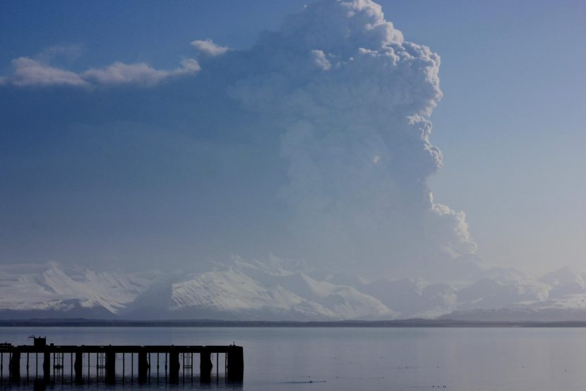 Pavlof Volcano erupted in March 2016, releasing a plume of ask. The current eruption is smaller. (Photo by Candace Shaack/courtesy KUCB)