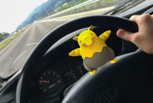 A Drowzee on the road in Juneau. (Photo by Rashah McChesney/KTOO)