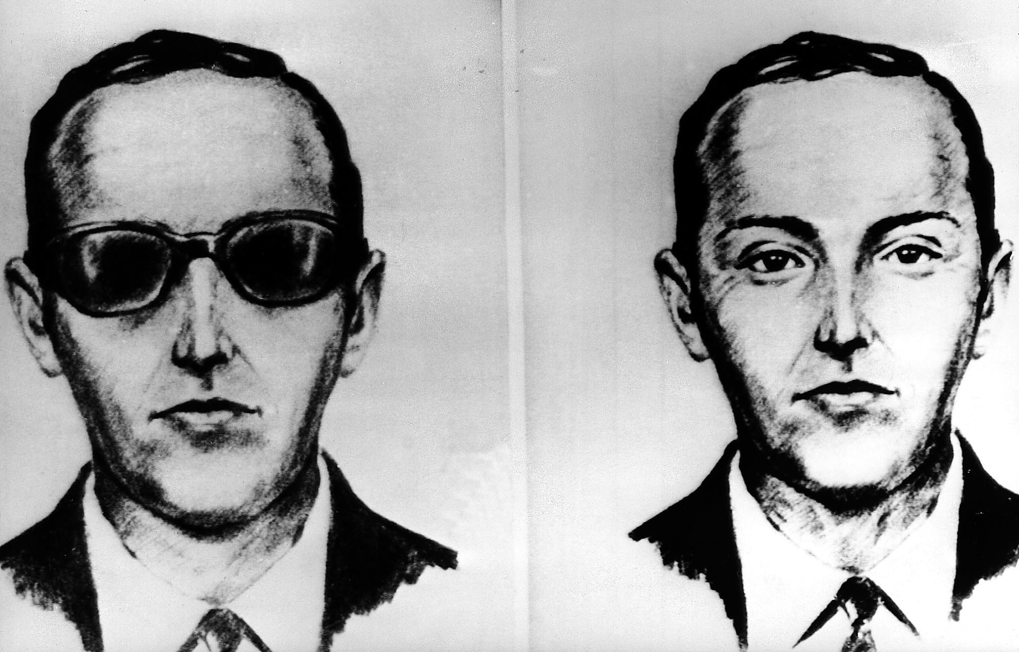 This undated artist' sketch shows the skyjacker known as D.B. Cooper from recollections of the passengers and crew of a Northwest Airlines jet he hijacked between Portland and Seattle on Thanksgiving eve in 1971. (AP)