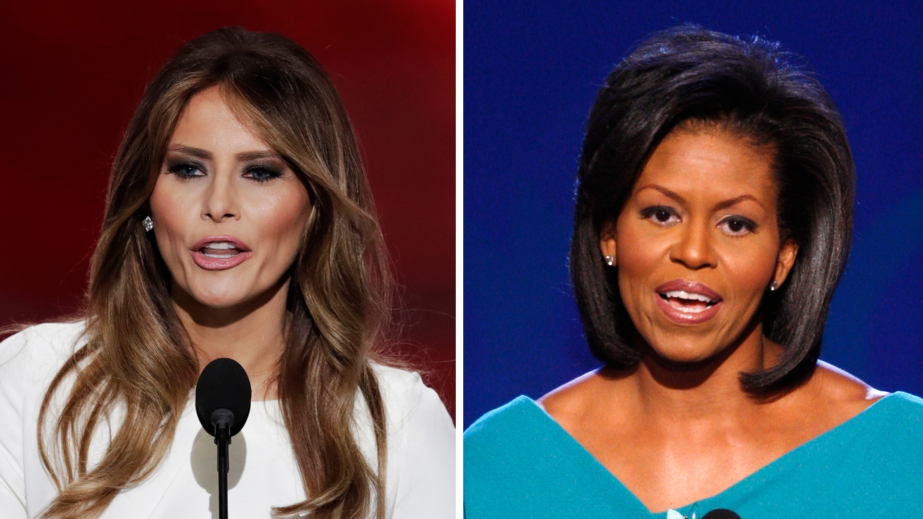 Melania Trump speaks to the Republican National Convention on Monday night. Two passages from her speech closely mirrored Michelle Obama's 2008 Democratic convention speech. (Photos by The Associated Press)