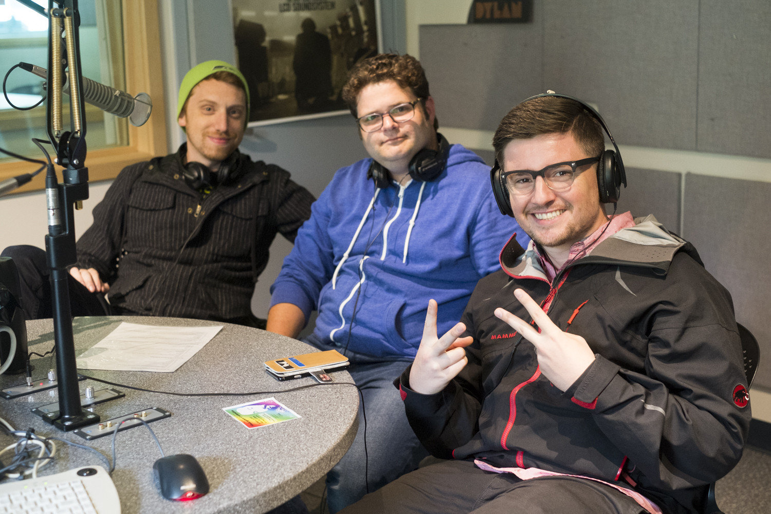 Gabe, Matt and Casey of The Bad Tenants in the KXLL Studio. (Photo by Annie Bartholomew/KTOO)