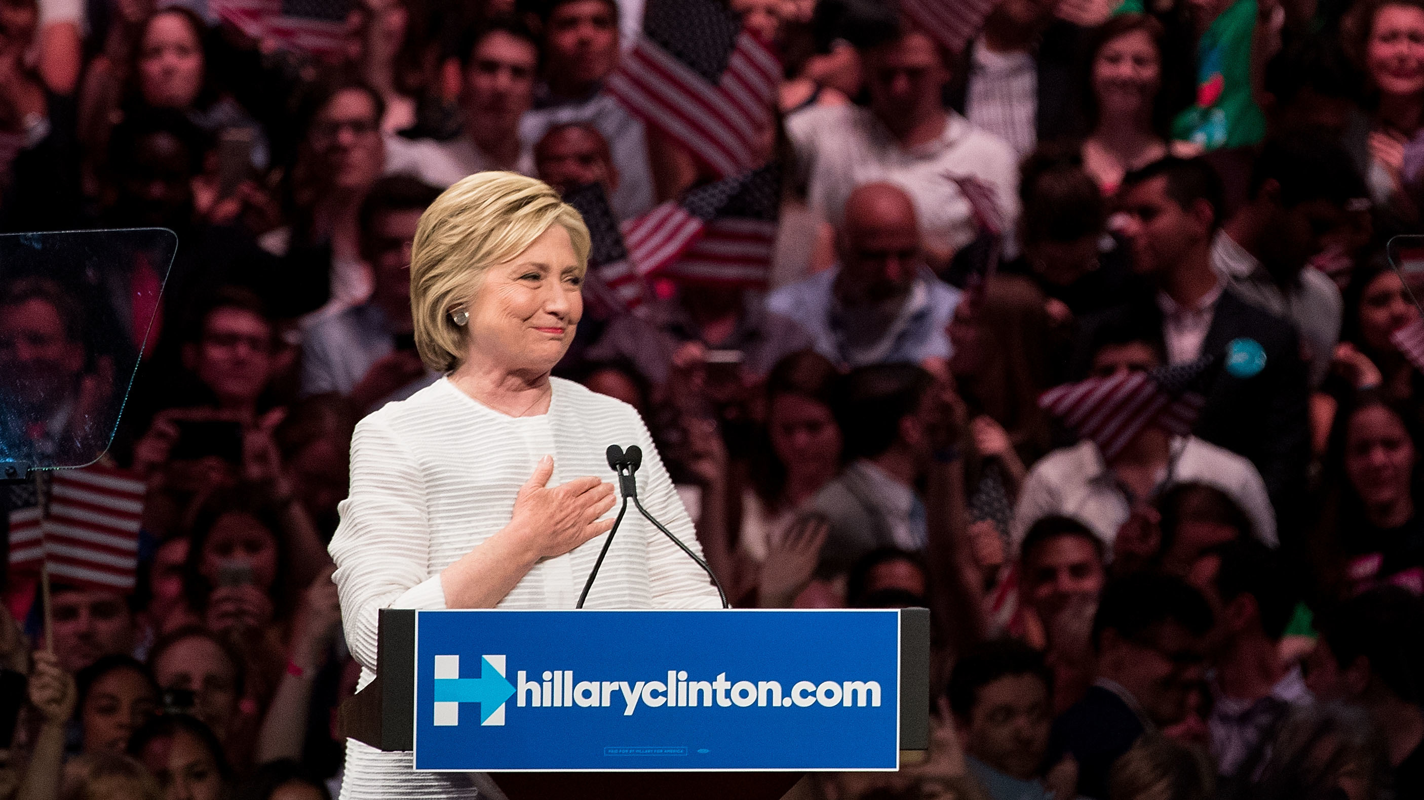 Hillary Clinton, heartened by her supporters' reception, after voting on the June 7th, the night it became clear she would be the first woman nominee of a major-party ticket. (Photo by Drew Angerer/Getty Images)