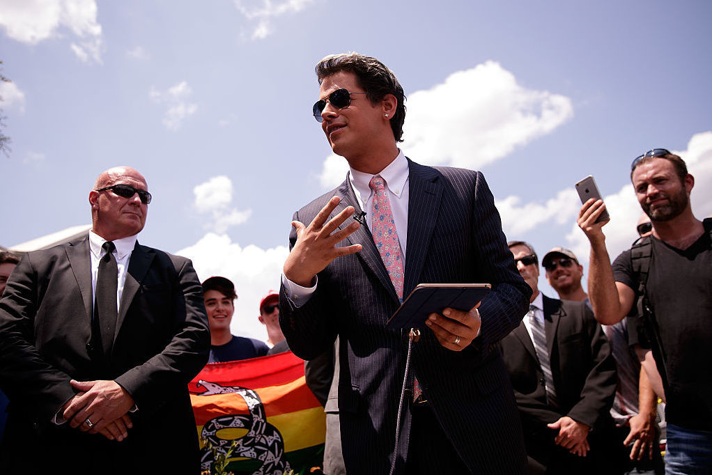 Milo Yiannopoulos, a conservative writer and Internet personality, holds a news conference down the street from the Pulse nightclub in Orlando, Fla., last month. (Photo by Drew Angerer/Getty Images)