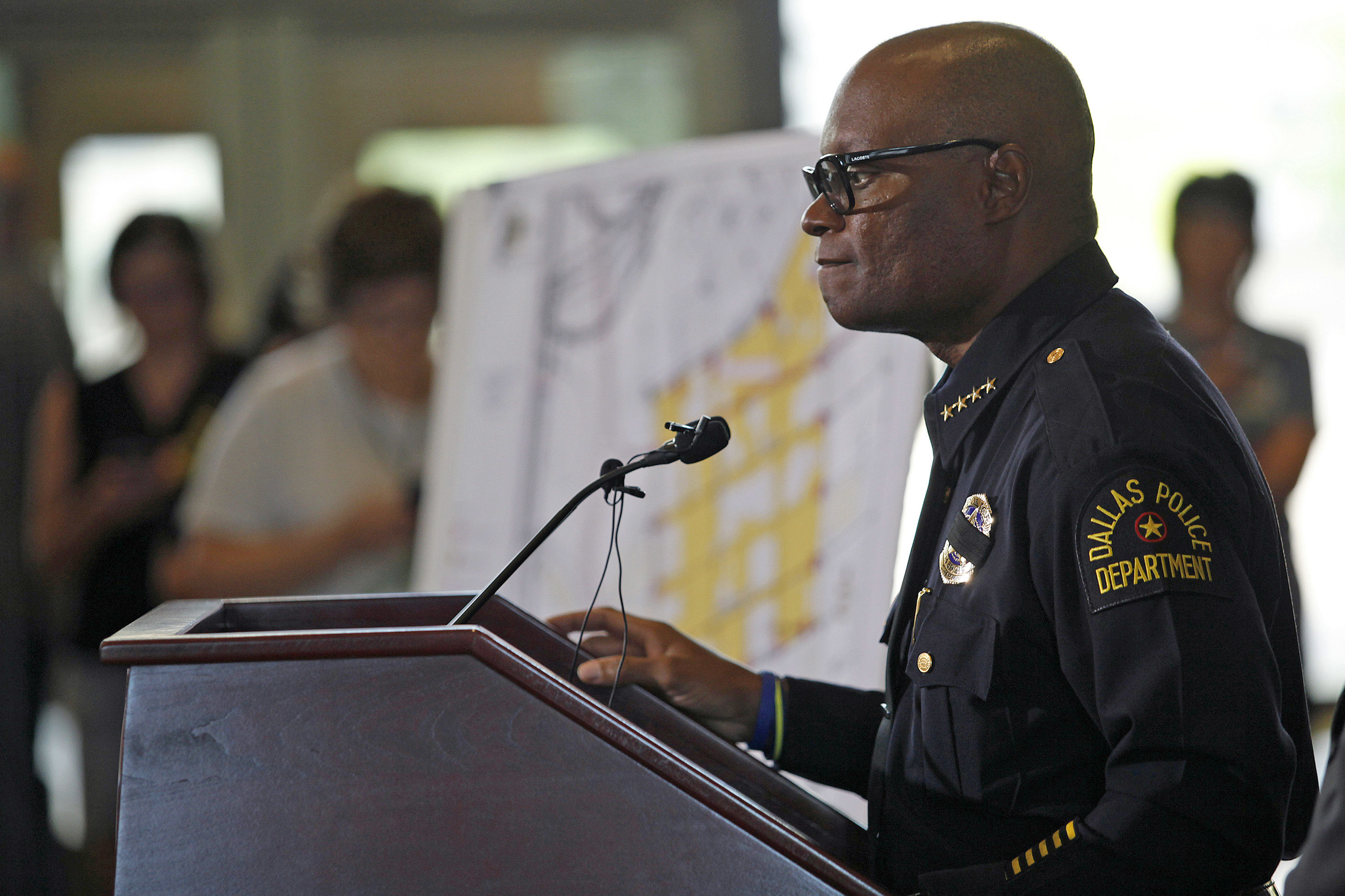 Dallas Police Chief David Brown speaks at a city hall press conference on the fatal shootings of five police officers on Friday. (Photo by Stewart F. House/Getty Images)
