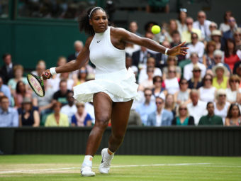 Serena Williams of The United States plays a forehand during The Ladies Singles Final against Angelique Kerber of Germany on day twelve of the Wimbledon Lawn Tennis Championships at the All England Lawn Tennis and Croquet Club on July 9, 2016 in London, England. Clive Brunskill/Getty Images