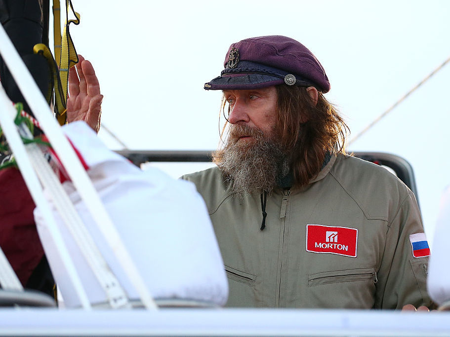Fedor Konyukhov waves to spectators before lift off from the Northam Aero Club on July 12 in Northam, Australia. Paul Kane/Getty Images
