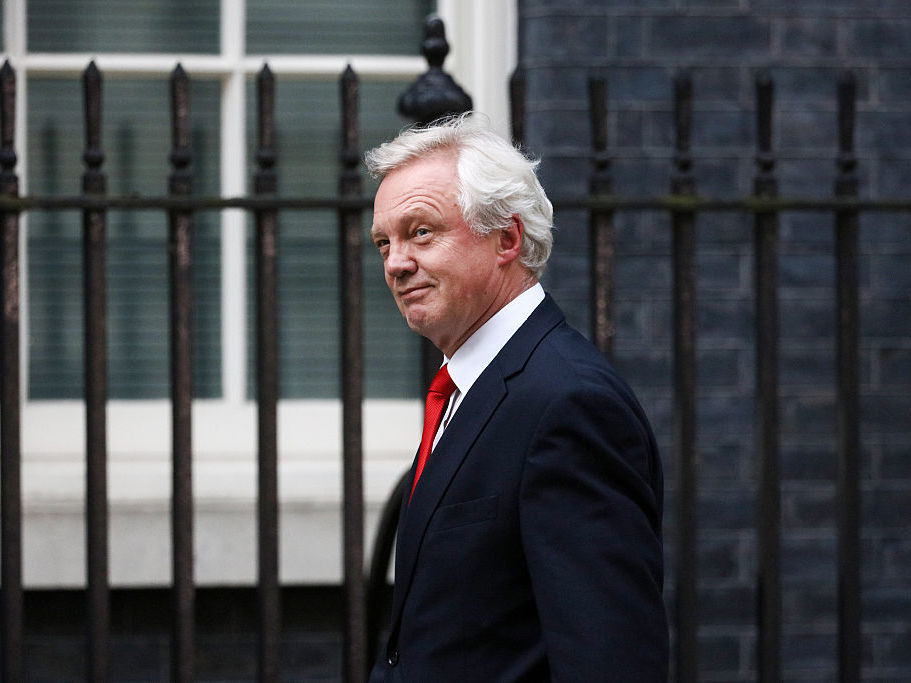 David Davis arrives to be named as Brexit Chief after a meeting with U.K. Prime Minister Theresa May on Wednesday. Bloomberg/Bloomberg via Getty Images