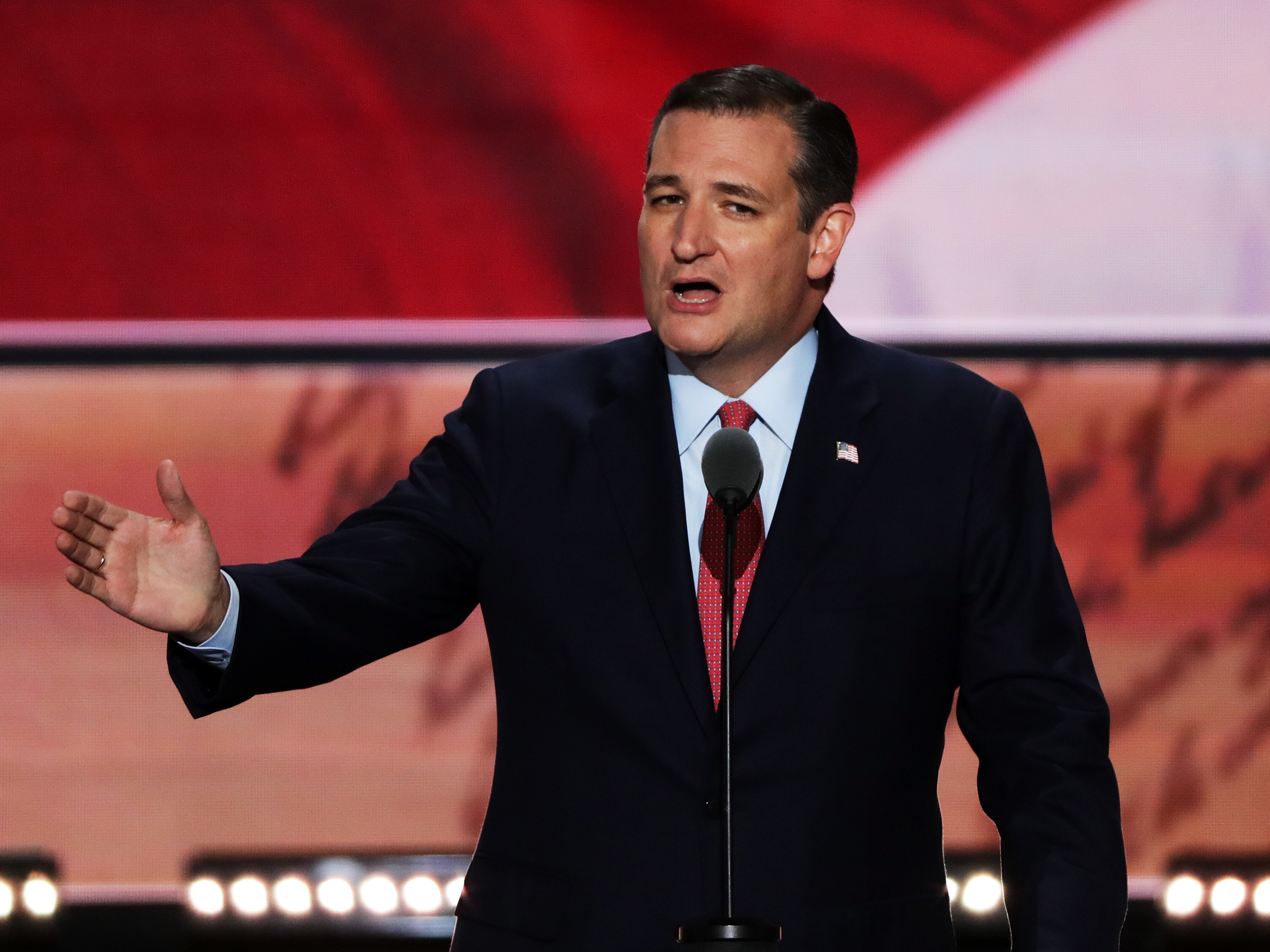 "Sen. Ted Cruz addresses the Republican convention on Wednesday --€"" without endorsing Donald Trump. (Photo by Alex Wong/NPR)"