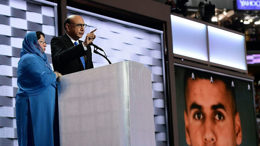 Khizr, whose son was killed in Iraq, speaks directly to Donald Trump at the Democratic National Convention in Philadelphia on July 28. His wife Ghazala Khan stands beside him. Robyn Beck/AFP/Getty Images