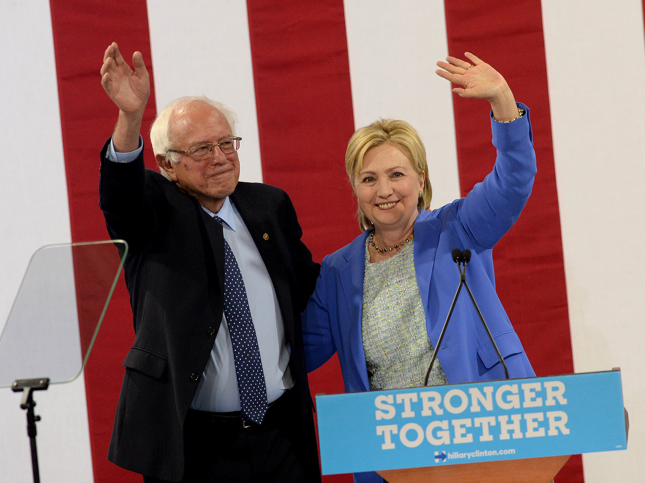 Sen. Bernie Sanders, I-Vt Bernie Sanders and Presumptive Democratic presidential nominee Hillary Clinton appear together at Portsmouth, N.H. High School where Sanders endorsed Clinton for president of the United States. (Photo by Darren McCollester/Getty Images)