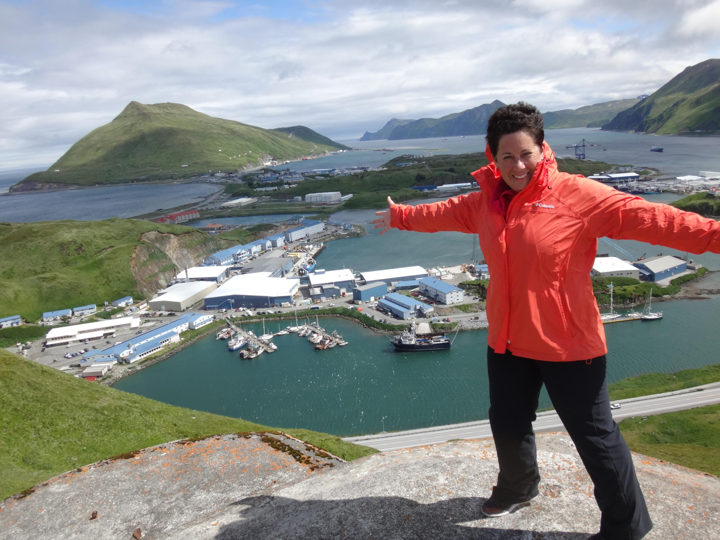 Karen Abel on Bunker Hill in Unalaska