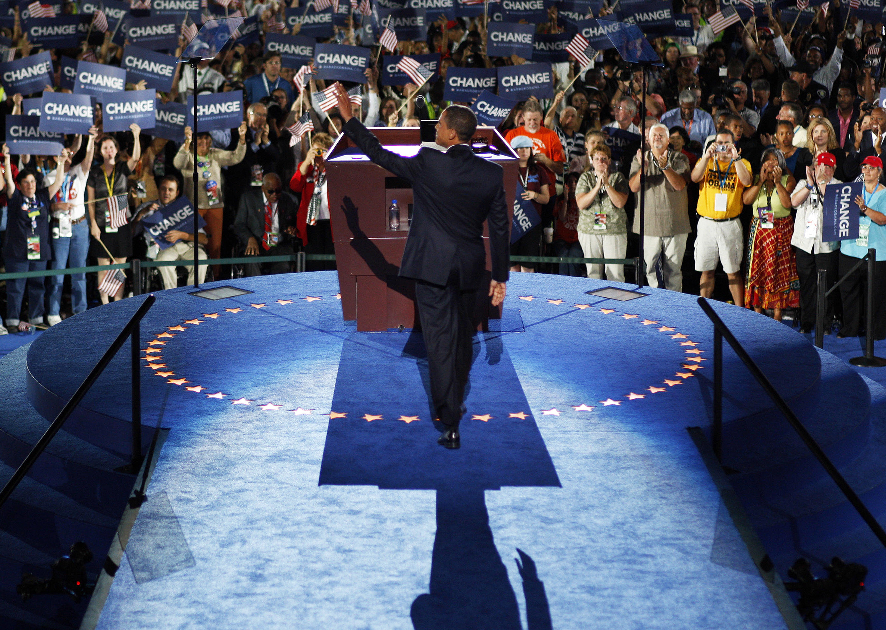 Barack Obama accepts the Democratic presidential nomination at the 2008 Democratic National Convention on Aug. 28, 2008, in Denver. (Photo by Chuck Kennedy/AFP/Getty Images)