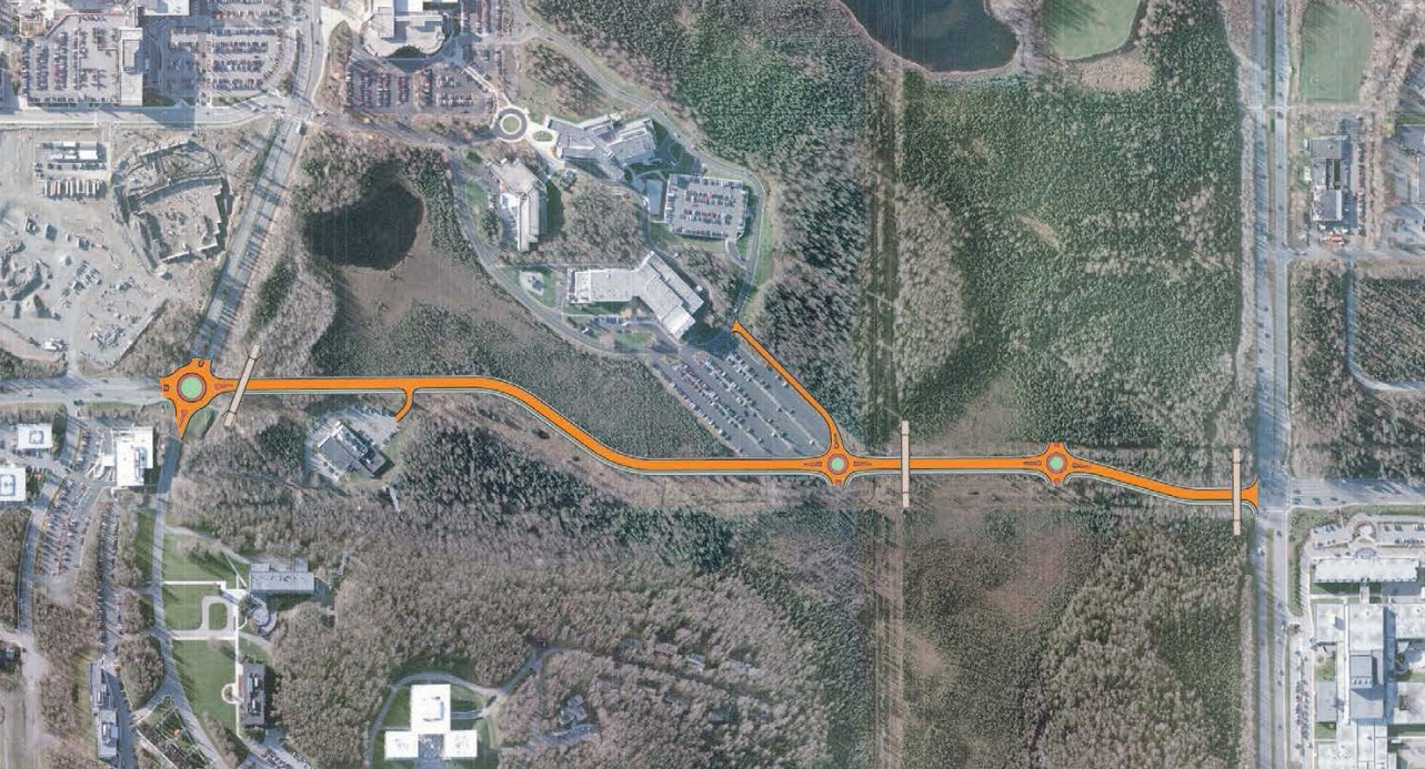 The proposed route for the U-Med District Northern Access Road.